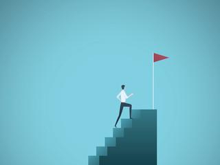 Business ambition vector concept with businessman jump on graph columns. Success, achievment, motivation business symbol.