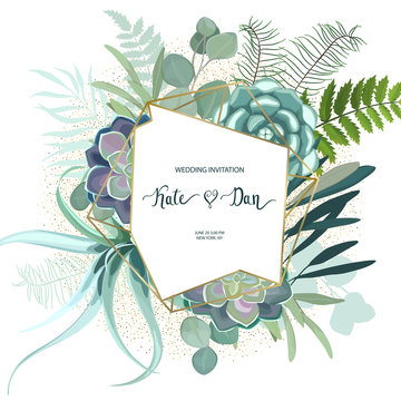 Greenery geometric frame with leaves, succulent , eucalyptus, fern and cactus. Perfect for wedding, frame, pattern,greeting card, invitations, lettering. Watercolor style. Vector illustration