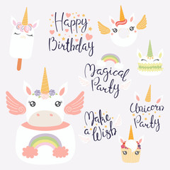 Set of hand written birthday lettering quotes, desserts with cute unicorn faces. Isolated objects on light background. Vector illustration. Design concept for banner, invitation, greeting card.