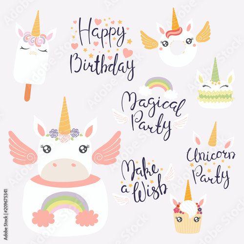 8e97a54e32d Set of hand written birthday lettering quotes