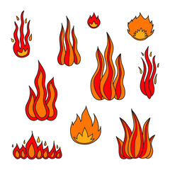 Set of doodle fire flames.