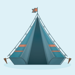 Blue Camping Travel Adventure Trip Tent Camp Icon Element Modern Flat Design With Front View
