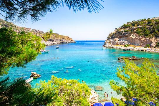 Scenic Anthony Quinn Bay on Rhodes Island, Mediterranean Sea, Greece