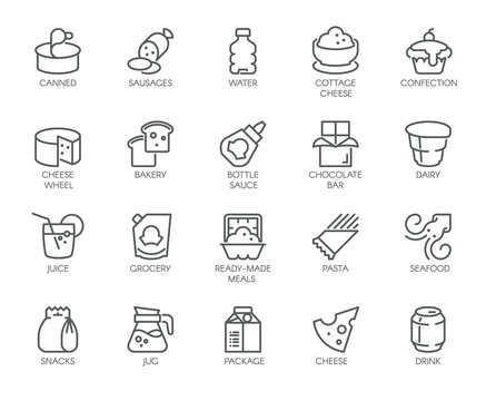 20 linear icons of drinks and food isolated. Dairy produce, pasta, sweets, seafood and other contour logos. Culinary and cooking theme. Vector for market, grocery stores, menu, thematic sites and apps