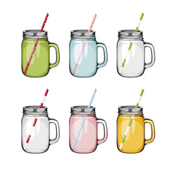 Set of mason glass jar with handle and  straw. ball.  Empty glass jar in difrent colours