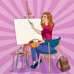 Pop Art Female Artist Painting at the Studio. Woman Painter in Workshop. Vector illustration