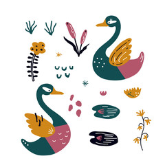vector set with beautiful scandinavian swans for baby shower,  fabric, textile