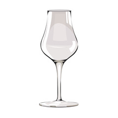 Glass of Grappa, Italian grape alcoholic drink. Illustration on white background.