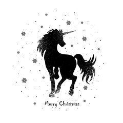 vector illustration silhouette of a magic unicorn and snowflakes, Merry Christmas