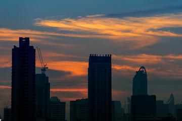 BANGKOK, THAILAND -  JANUARY 16, 2018 : Silhouette of Bangkok city view with beautiful sunrise background