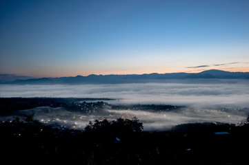 sea of clouds over the forest, North of THAILAND