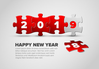 New Year card template made from red and white puzzle pieces