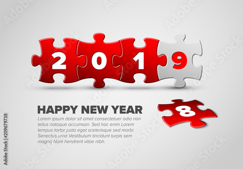 New Year card template made from red and white puzzle pieces\