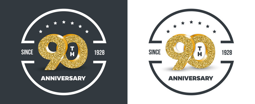 90th Anniversary logo on dark and white background. 90-year anniversary banners. Vector illustration.