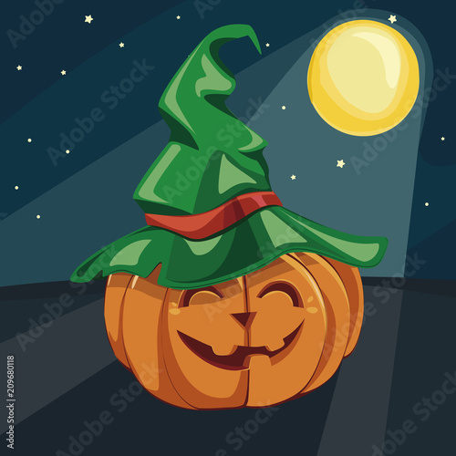 Halloween Poster Background Free.Halloween Laughing Pumpkin Under The Moonlight Vector