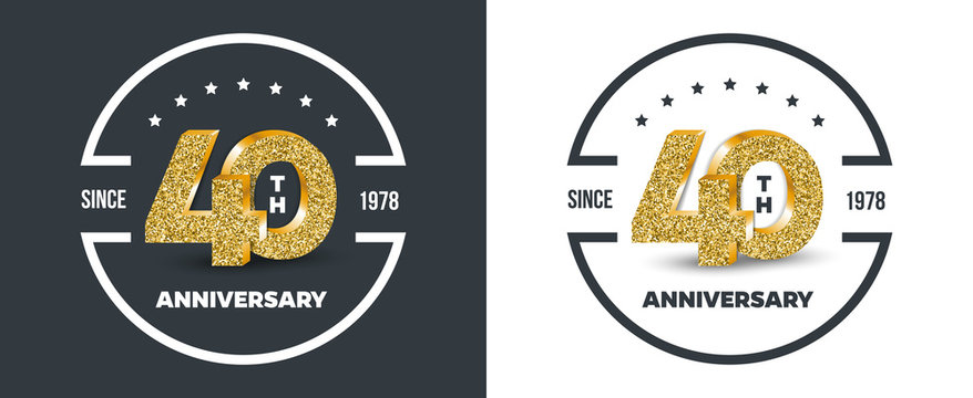 40th Anniversary logo on dark and white background. 40-year anniversary banners. Vector illustration.