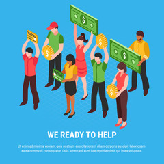 People Ready For Help Isometric Poster