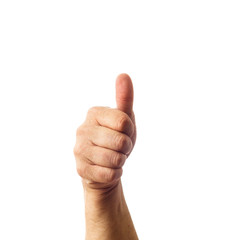Adult male hand showing thumbs up gesture isolated on white