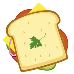 Illustration of Sandwich. food icon, melted cheese, salad leaves and classic grilled bread, for takeout restaurant. vector.