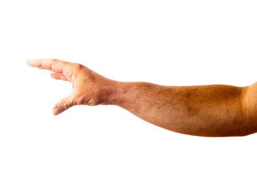 Adult male hand showing gesture isolated on white