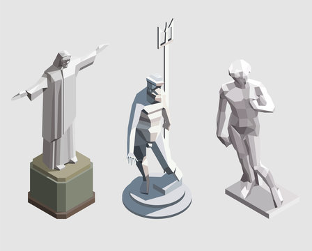 Set of vector isometric statues. Famous landmarks. Jesus Christ in Rio de Janeiro,  statue of Neptune from Bologna, Italy, Michelangelo's David from Florance, Italy.