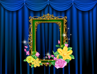 Golden royal frame photo on drake blue curtain stage background