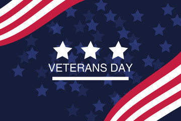 Veterans day. Honoring all who served. Illustration with stars.
