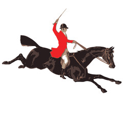 fox hunter is riding on the horse
