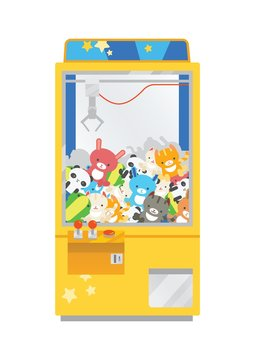 Claw crane machine or teddy picker isolated on white background. Arcade game with plush toys inside, gaming device for kid's entertainment. Colorful vector illustration in flat cartoon style.