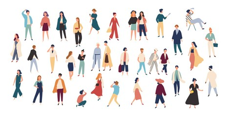 Crowd of tiny people wearing stylish clothes. Fashionable men and women at fashion week. Group of male and female cartoon characters dressed in trendy clothing. Flat colorful vector illustration.