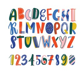 Bright colored hand drawn latin font or english alphabet for kids decorated with scribble. Funny letters arranged in alphabetical order and figures isolated on white background. Vector illustration.