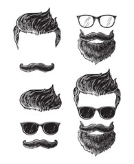Set of bearded men faces, hipsters with different haircuts mustaches beards. Silhouettes emblems icons labels. vector illustration