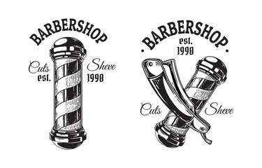 Set of vintage barbershop emblems labels badges logos pole blade. Isolated on white background. Vector illustration