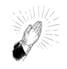 Folded praying hands drawn with black contour lines on white background. Beautiful retro drawing of religious prayer's gesture. Elegant monochrome vector illustration in vintage engraving style.