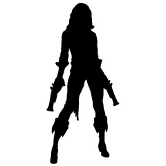 Pirat girl silhouette with pistol