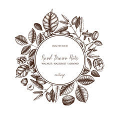 Vector design with hand drawn nuts sketches. Vintage hazelnut, walnut, almond illustrations. Organic food template for menu, packing, branding, card designs on white background.
