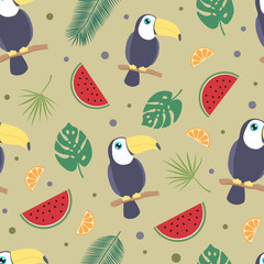 Toucan tropical seamless background.