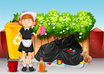 A Maid Cleaning Dirty Area