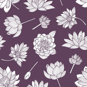 Floral seamless pattern with elegant blooming lotus hand drawn with contour lines on purple background