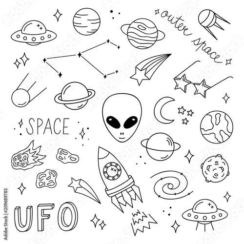 Outer Space Vector Objects And Writings Alien Ufo Planets Comet