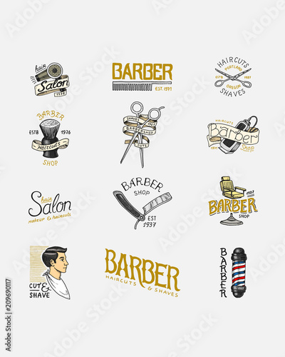Set of barbershop badge and label, logo and hipster emblems  Tools