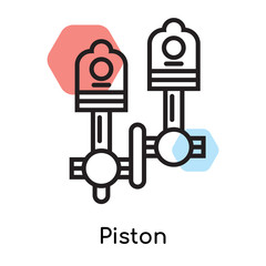 Piston icon vector sign and symbol isolated on white background, Piston logo concept, outline symbol, linear sign