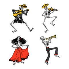 Day of the dead. Mexican national holiday. Original inscription in Spanish Dia de los Muertos. Skeletons in costumes dance, play the violin, trumpet and guitar. Hand drawn engraved sketch.