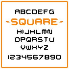 Vector square modern alphabet set. Geometric stylized letters.