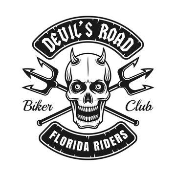 Biker club emblem with devil skull and tridents