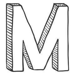 Vector Single Doodle Sketch Illustration - The Letter M