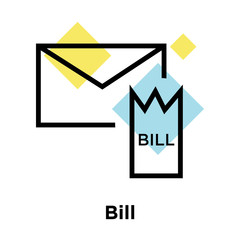 Bill icon vector sign and symbol isolated on white background, Bill logo concept, outline symbol, linear sign