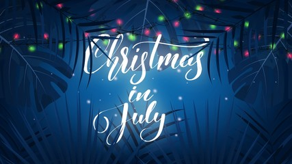 Christmas in July. Tropical background with exotic palm leaves, Christmas lights and lettering. Summer Christmas banner Wall mural