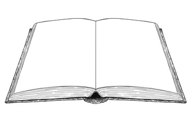 Vector artistic pen and ink drawing illustration of old open book with blank or empty white pages.
