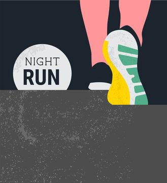 athlete runner feet running or walking on road . running poster template. closeup illustration vector. nigth run marathon